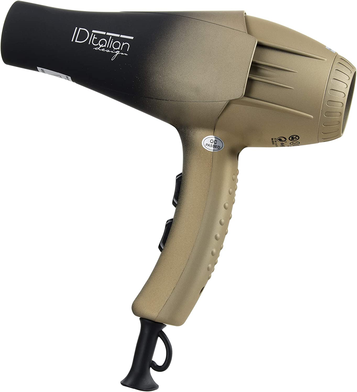 ID Italian Design   Secador de Pelo Silencioso 2 Modos de Calor, 2 Velocidades de Color Negro y Dorado - 2300W