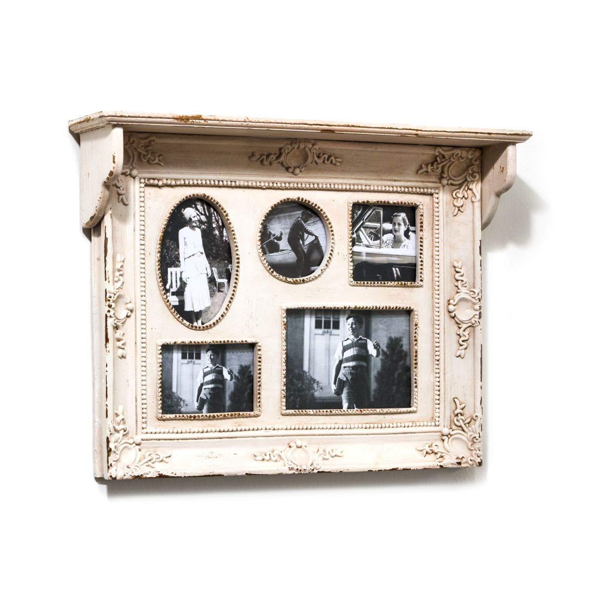 Portaretrato, 5 fotos, apariencia usada, blanco, estante, decoración en filigrana, aprox. ancho 51 x fondo 10.5 x altura 38 cm: Amazon.es: Hogar