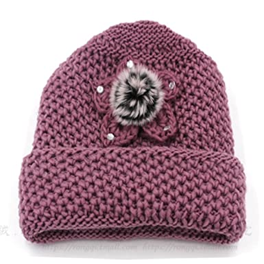 483252cd96c The old lady knitting wool hat female winter hat for old person   Plus  velvet autumn and winter hat grandma  Middle-aged women mom cap-C One Size   ...