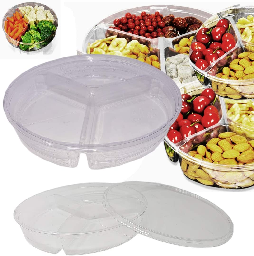 Round Divided Clear Plastic Food Containers storage box ( 3 Dividers) w/ Lids (6 Pack) Serving Tray For Snacks, dry fruits, candy, nuts & More 60 oz