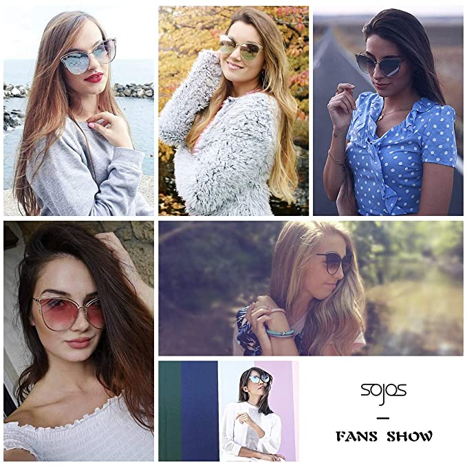 0d33d8261b Amazon.com  SOJOS Womens Fashion Double Wire Flash Mirrored Lens Cateye  Sunglasses SJ1049 with Gold Frame Pink Mirrored Lens  Clothing