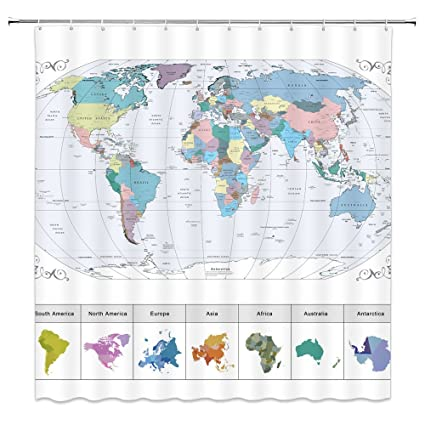 Amazon Com World Map Shower Curtains Continental Plate Bathroom