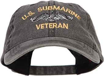 86d99dba284 E4hats US Submarine Veteran Military Embroidered Washed Cap