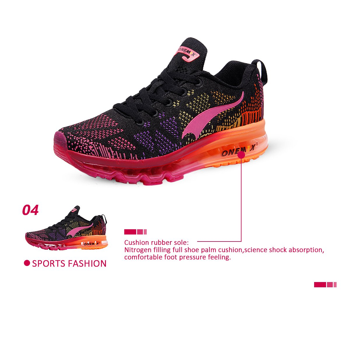 ONEMIX Women's Lightweight Air Cushion Outdoor Women Sport Running Shoes B06ZYF9PND Women Outdoor 8(M)US/Men 6.5(M)US 39EU|Black Red 0919da