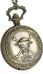 CoolChange One Piece Reloj de Bolsillo con el Jolly Rogers de los Piratas  Sombrero de Paja 1f5ca8688d0