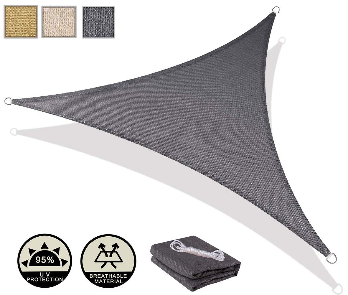 AXT SHADE Tenda a Vela Triangolare 5x5x7m, Traspirante e Protezione Raggi UV, per Esterni, Cortile, Giardino, colore Grigio