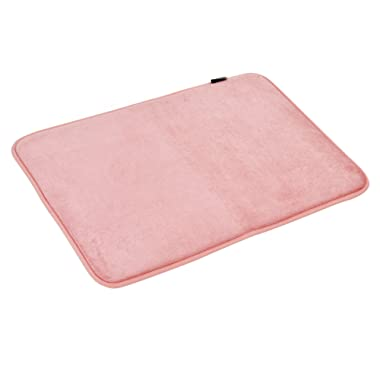 WELLAND Memory Foam Bath Mat Slip-Resistant Absorbent Super Soft Velvet Bathroom Rug Carpet & Shower Rug, 24'' x 17'', Pink