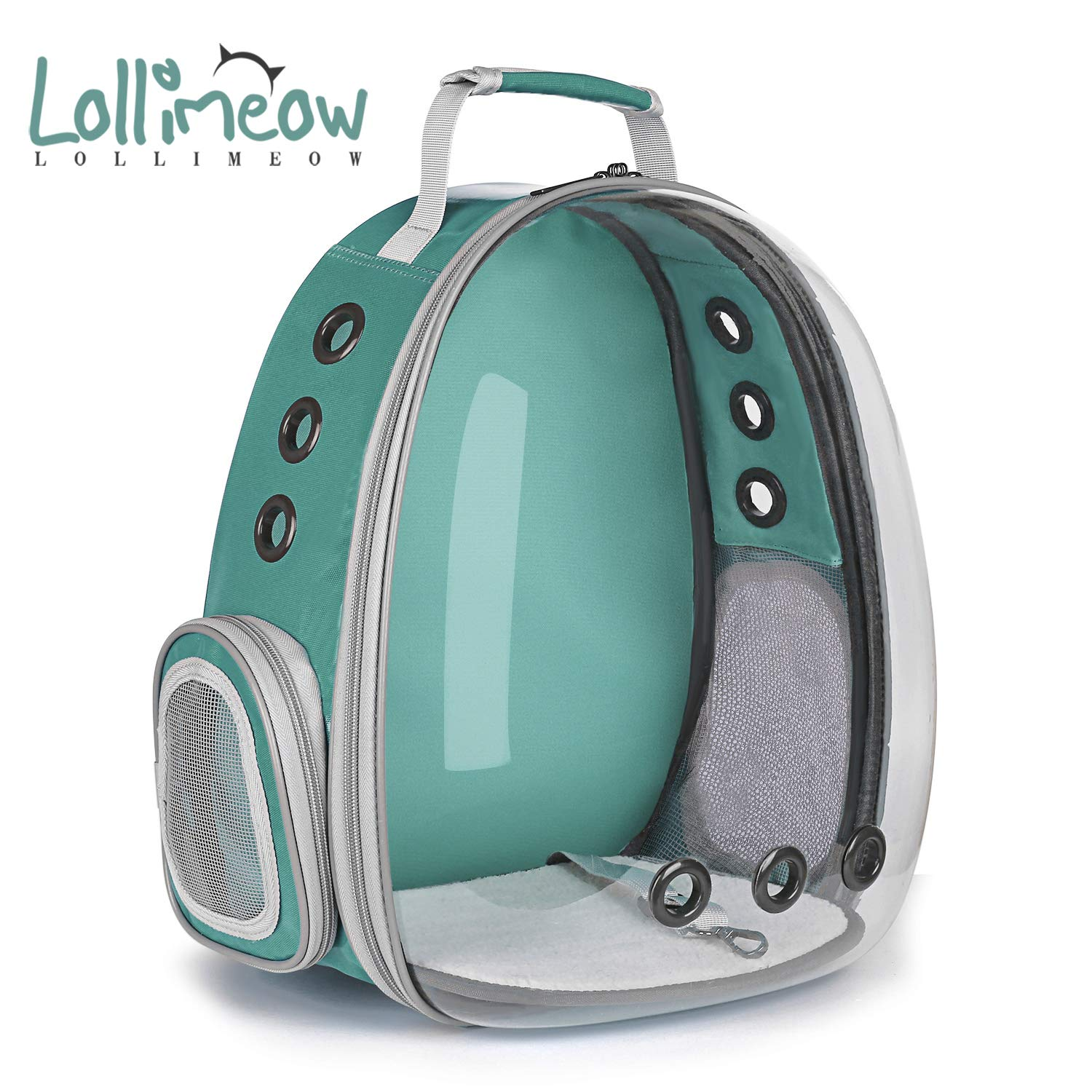 Green Keedo Pet Puppy Carrier Travel Bag Space Capsule Transparent Backpack Breathable 360° Sightseeing Airline Approved(Green)