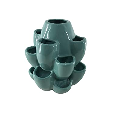 Exaco Trading Co. T Exaco Multi Purpose Ceramic Planter for Succulents, Herbs, Small Cacti, Cut Flowers & Strawberries, Turquoise