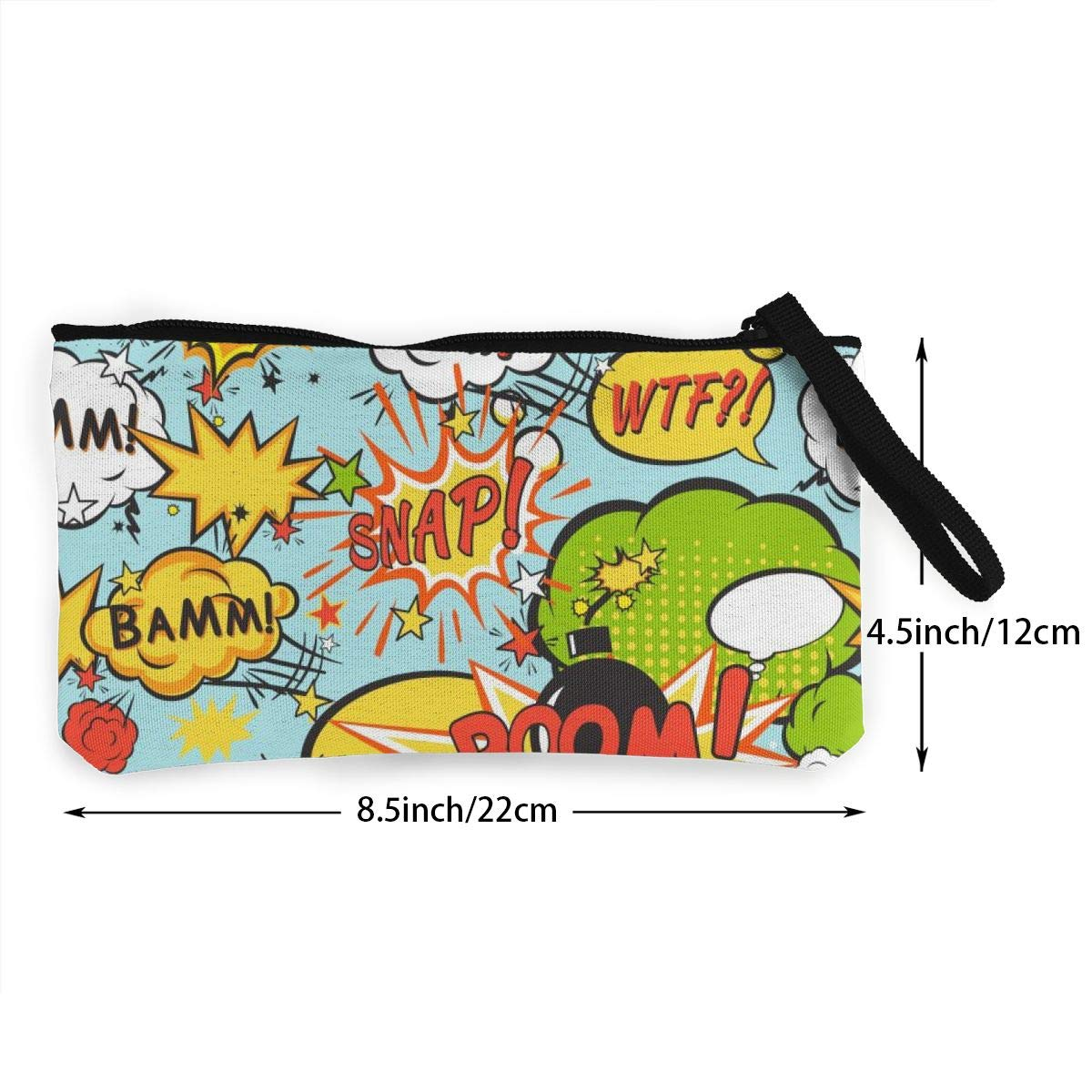 Coin Pouch Comic Boom Canvas Coin Purse Cellphone Card Bag With Handle And Zipper