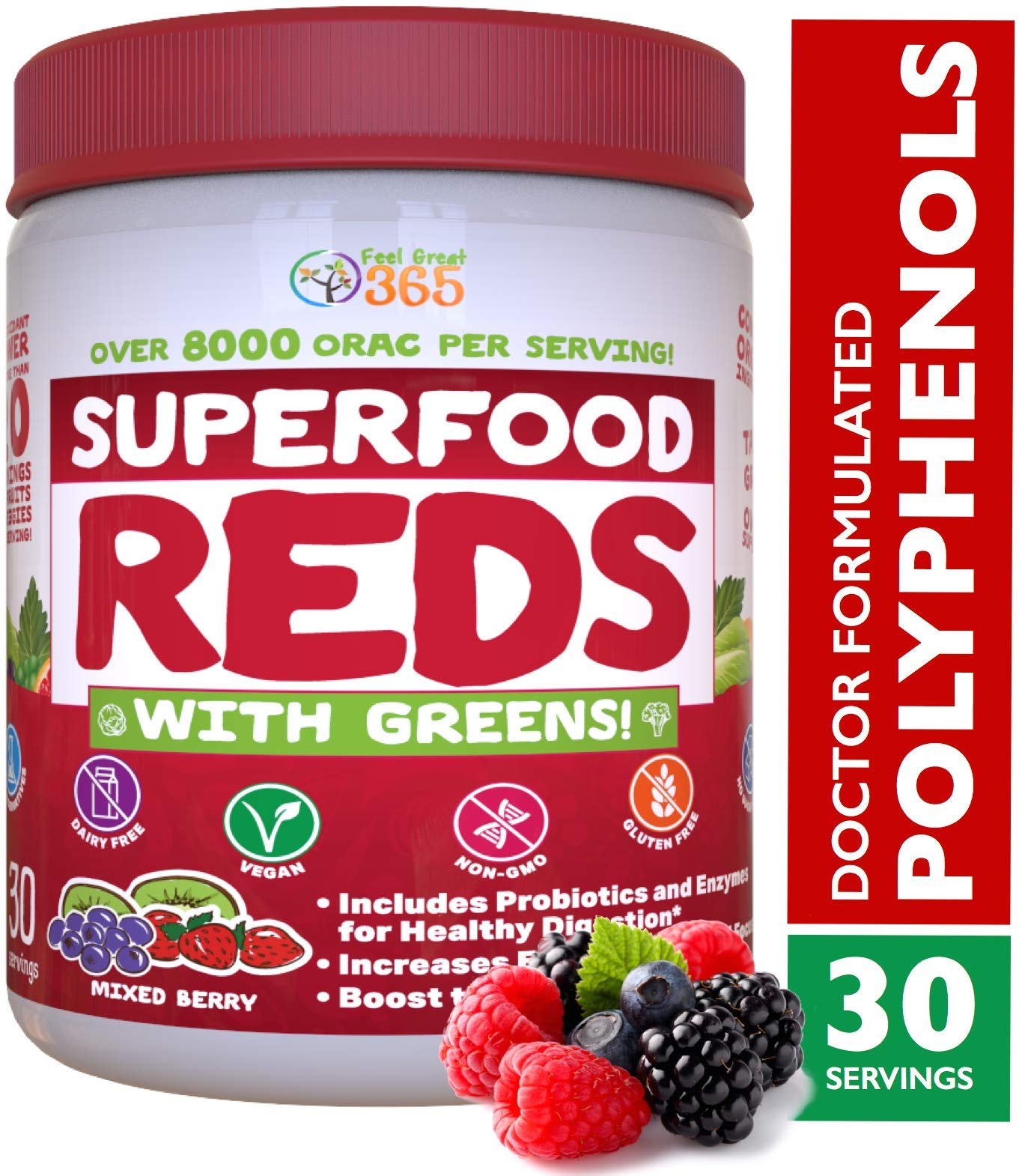 Superfood Vital Reds with Greens Juice Powder by Feel Great 365, Doctor Formulated,100% Non-GMO, Whole Food Multivitamin Powder - Fruits, Vegetables, Probiotics, Digestive Enzymes & Polyphenols by Feel Great 365
