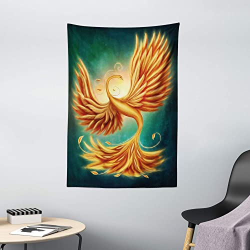 Ambesonne Modern Tapestry, Phoenix Charming Bird Feathers with Alluring Swirls Work of Art, Wall Hanging for Bedroom Living Room Dorm Decor, 40 X 60 , Marigold Emerald