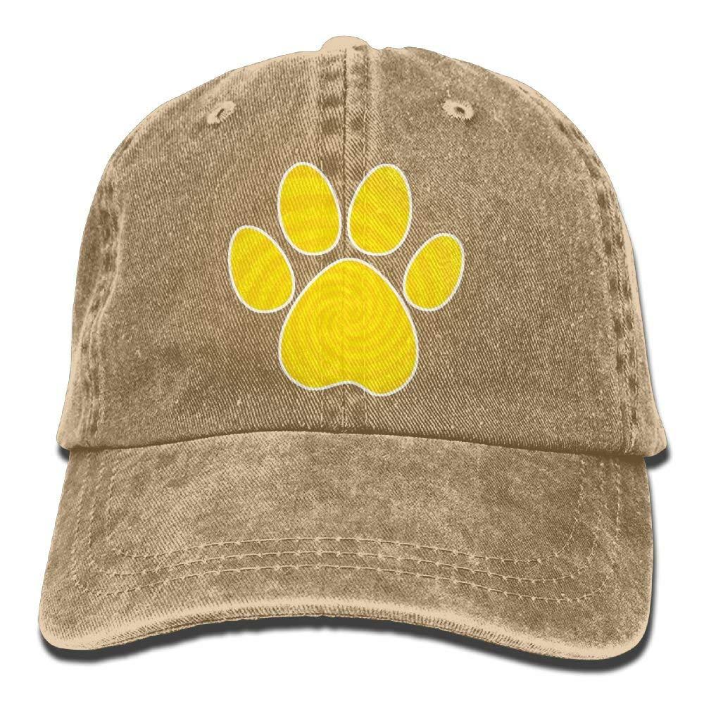 Yellow Dog Paw Denim Hat Adjustable Men