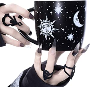 Coffee Mug (Celestial) by Rogue + Wolf Witch Goth Accessories for Women Hocus Pocus Gothic Home Decor Unique Spooky Witchy Gifts Cute Mugs Witchcraft Supplies - 14.2oz / 420ml Porcelain
