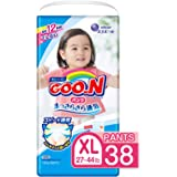 GOO.N Diaper Pull On Pants XL Size (27-44 lb) for Girls, 38 Count, STRETCHY + ULTRA DRY, Made in Japan