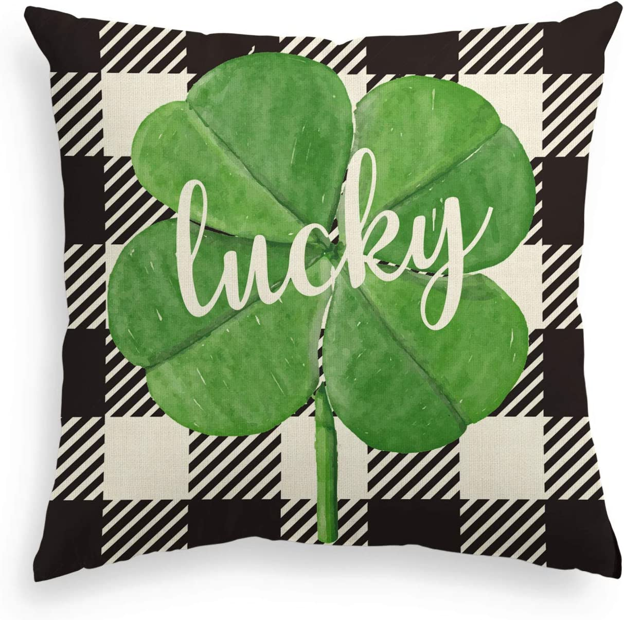 AVOIN Black and White Buffalo Plaid Shamrock Throw Pillow Cover, 18 x 18 Inch St Patrick's Day Lucky Clover Cushion Case Decoration for Sofa Couch