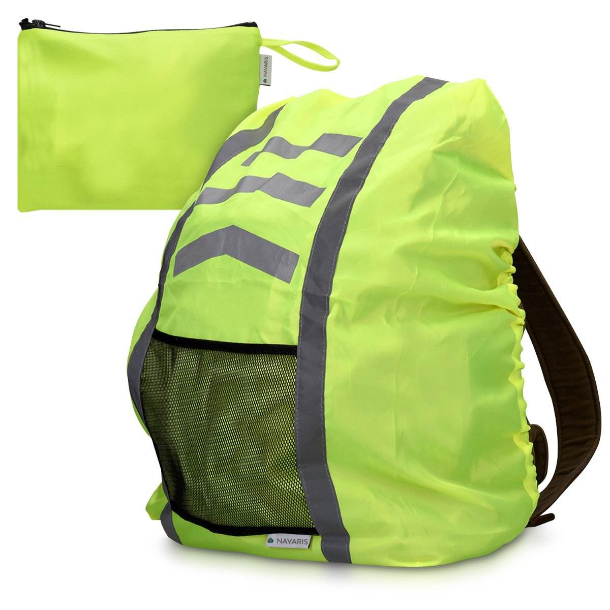 Navaris Raincover Backpack Satchel Raincover - 65x75 cm Cover for Satchel Reflective Waterproof - Raincover in neon Yellow KW-Commerce 43677.75_m000579