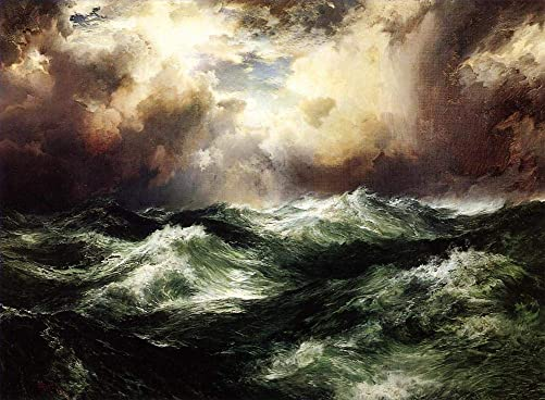 50- 4000 Hand Painted Art Paintings by College Teachers – Moonlit Seascape RSSP1 Thomas Moran Oil Painting Reproduction for Wall Decor Canvas Old Famous -Size03