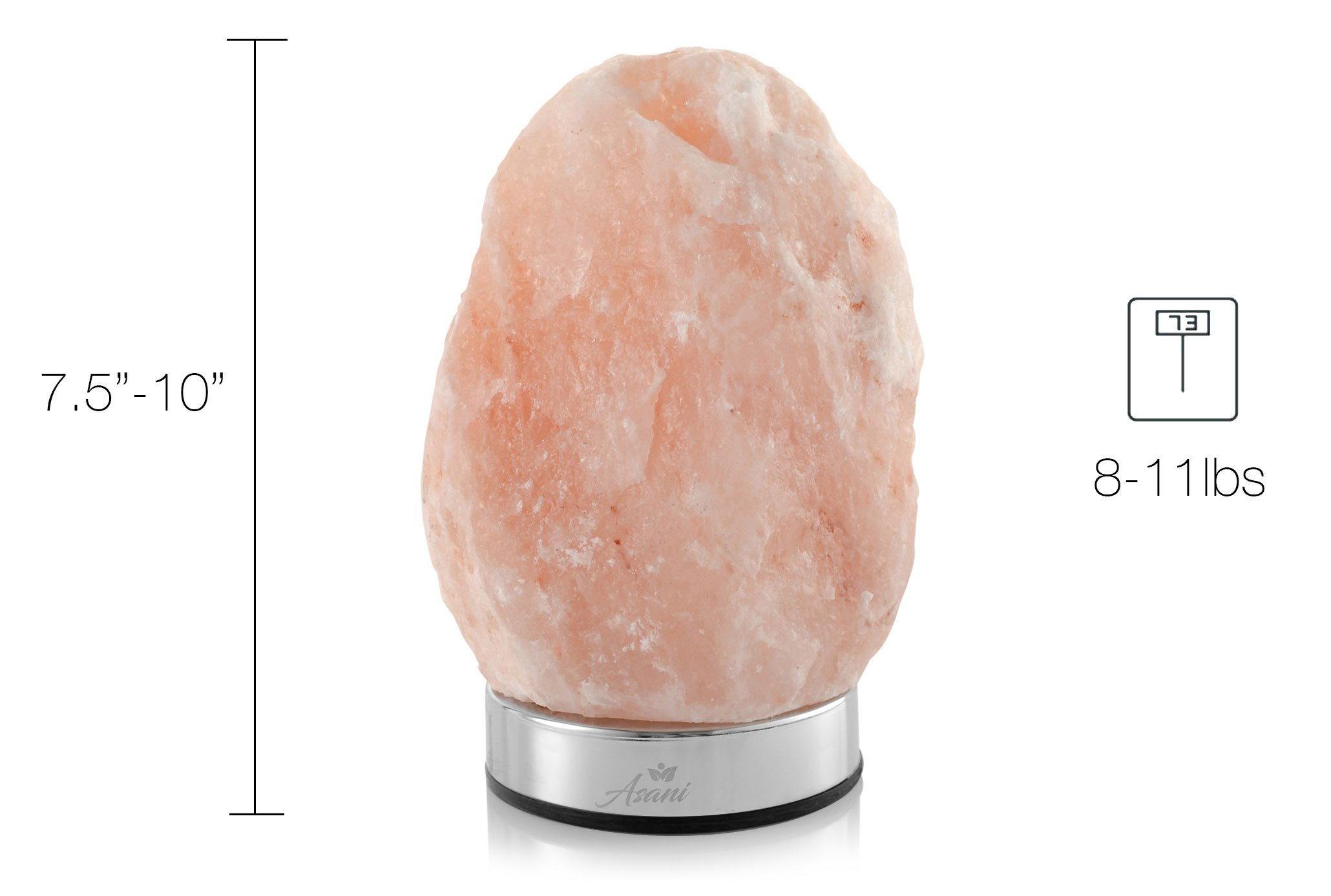 Asani Himalayan Light Salt Crystal Lamp (7-11 lbs, 8-10'' Height) WITH FREE GIFT BOX | Metal Dimmer Touch Base | Hand Crafted Ionic HPS Pink Rock Lamps for Natural Air Purifying and Lighting by Asani (Image #7)