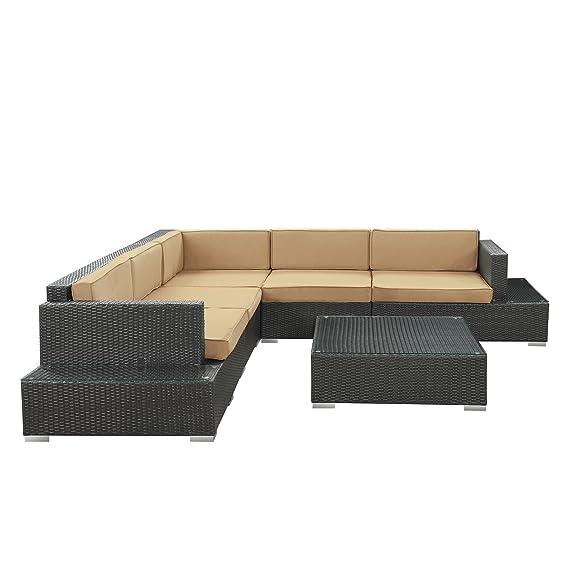 Lujo Cabana DK marrón ratán sofá con marrón lavable cojines ...