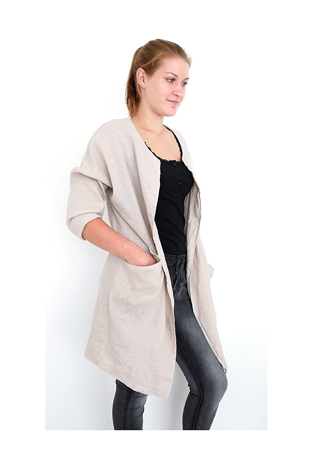 ★ Wendy Trendy Basic Casual Leinen Trench Mantel Open front Langarm Weste Cardigan fly away Long Jacke ecru sand beige L XL 40 42 44 (8724)