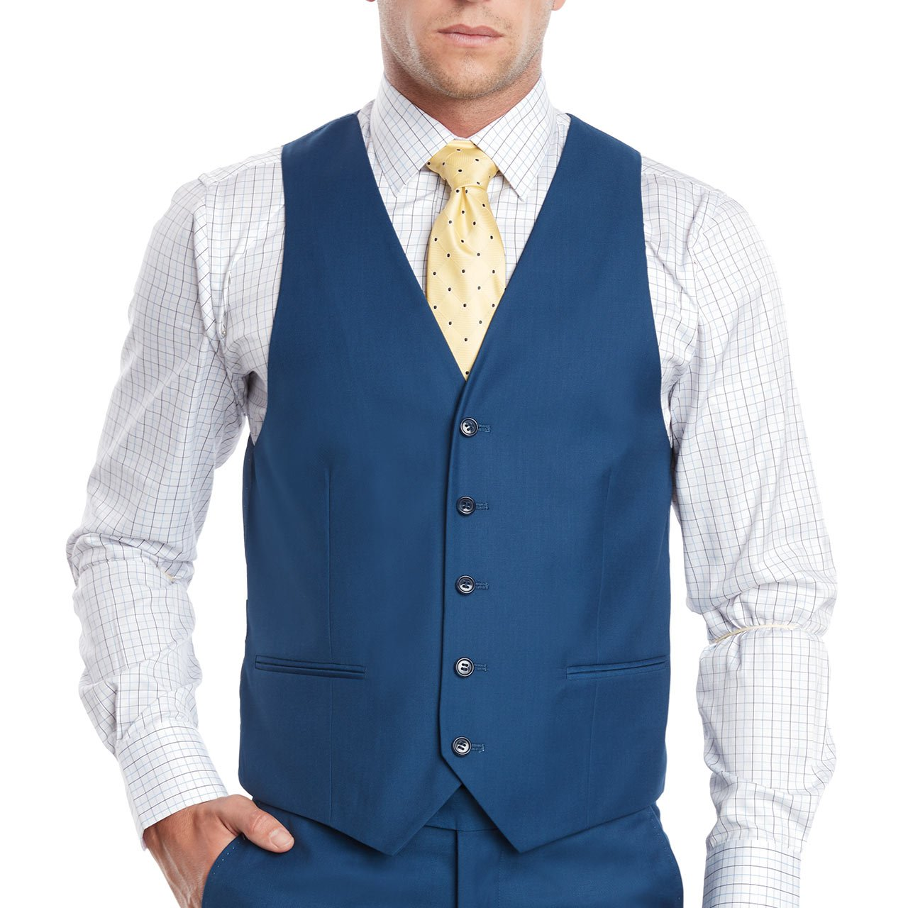 Mens Slim Fit Notched Lapel 3 Piece Suit Set Designed by Taheri French Blue 80/20(US 36R / EU 46R / Waist 30) by Sebastian Taheri Uomo (Image #3)