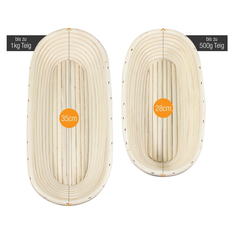 Amazy Banneton para pan - La ideal cesta para masa y fermentación de pan de mimbre natural (oval | ∅ 35 cm): Amazon.es: Hogar