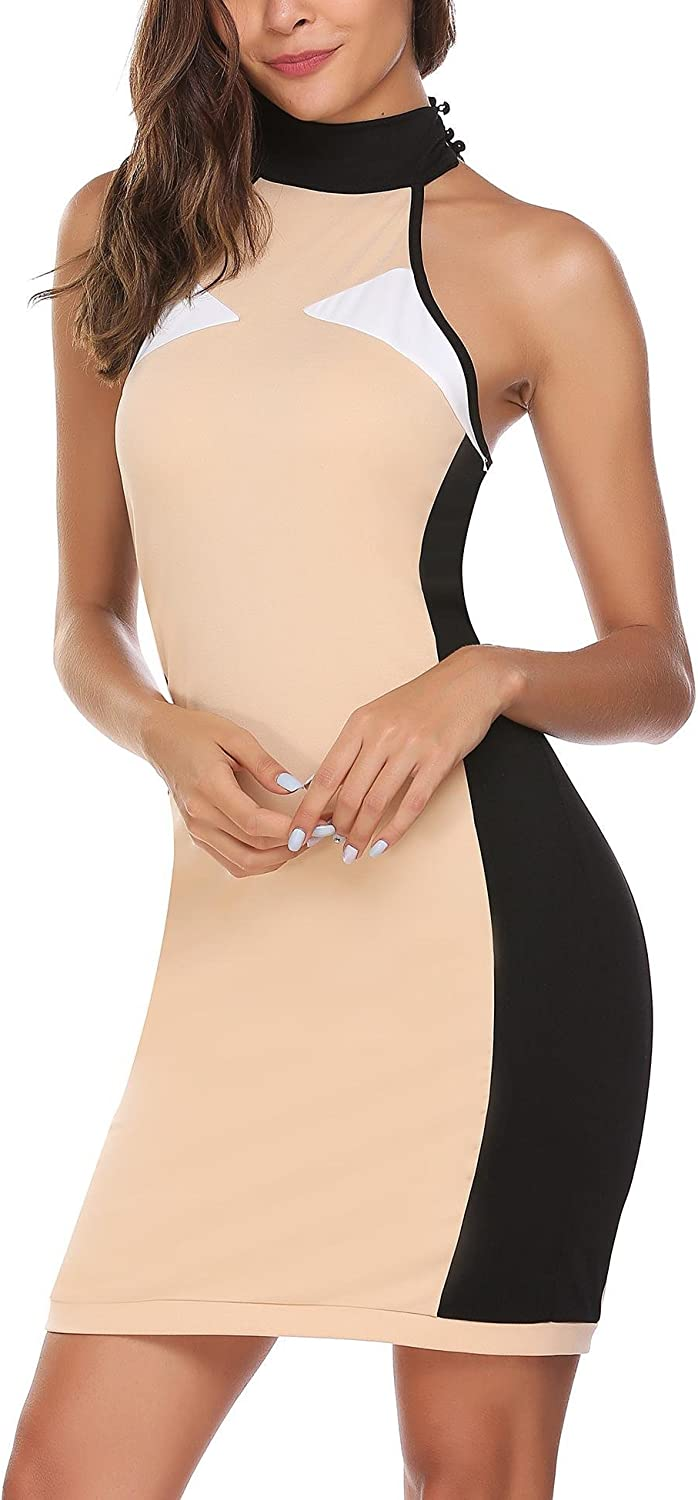 ANGVNS Women Halter Neck Sleeveless Stitching Contrast Color Bodycon Cocktail Party Mini Dress