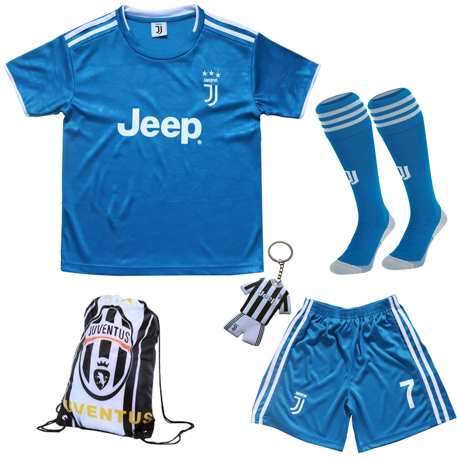 GamesDur 2019/2020 Ronaldo #7 Third Blue Soccer Kids Jersey & Short & Sock & Soccer Bag Youth Sizes