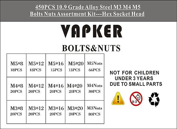 VAPKER 450 PCS Button Head Screw M3 M4 M5 Hex Socket Head Cap Screws Bolts Nuts Assortment Kit 10.9 Grade Black Oxide Finish Alloy Steel with 3 Mini Screwdriver