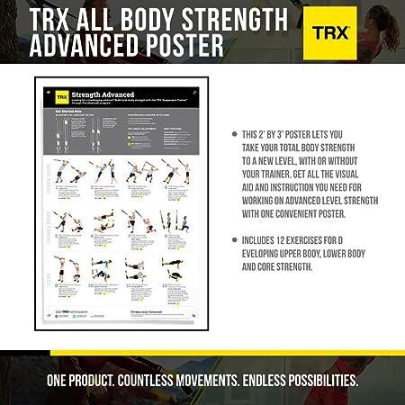 TRX Entrenamiento Póster de fortalecimiento avanzado de Todo el Cuerpo, una guía Visual de Ejercicios para desarrollar un régimen de fortalecimiento ...
