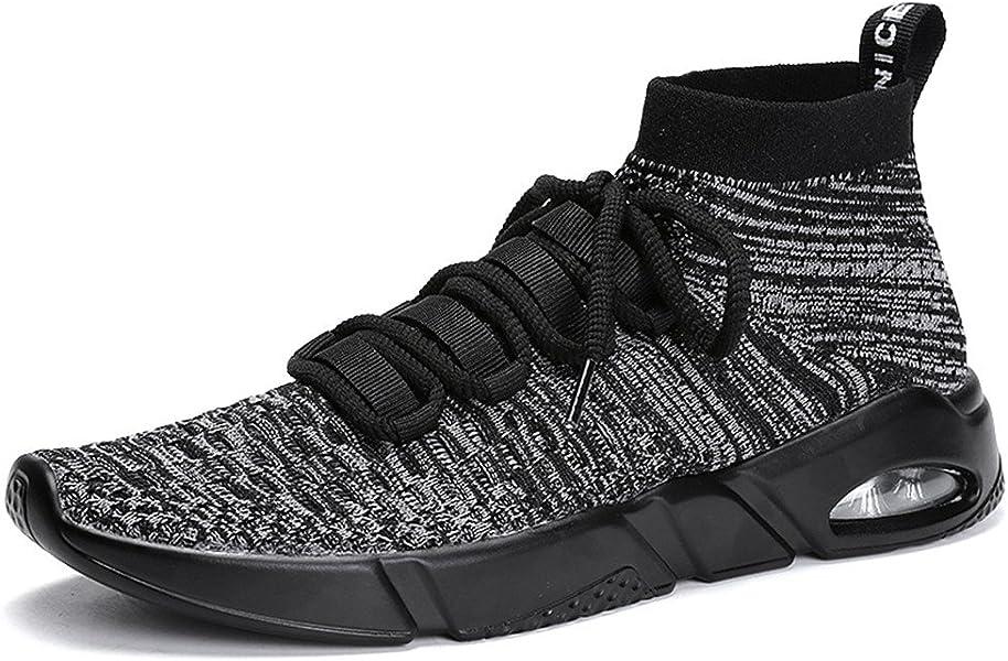 75d147d5e3da82 Herren Fitness Turnschuh Running Slip on Schuhe mit Socke Hohe Top Knit Gym  Training Sneaker Sports