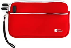 DURAGADGET Premium Quality Water Resistant Travel Pouch-Style Case in Red Neoprene - Compatible with Dell Venue 8 16GB Android 4.2 Tablet (Black)