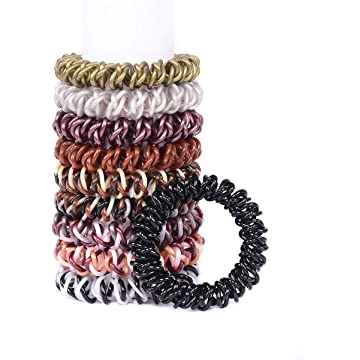 Spiral Coil Hair Ties No Crease Ponytail Holder for Women Pack of 10 Colors