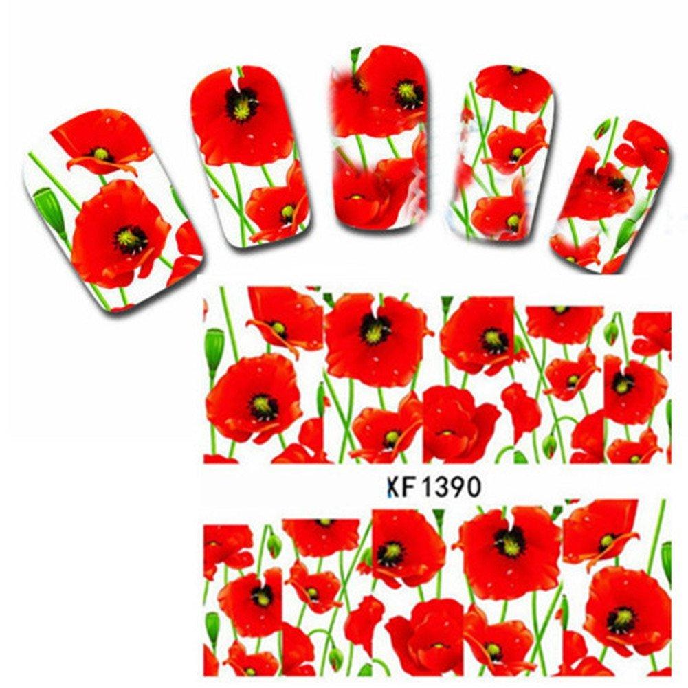 Born Pretty Water Decals Coquelicots pegatinas para manicura Decoración fácil #XF1390 manicura