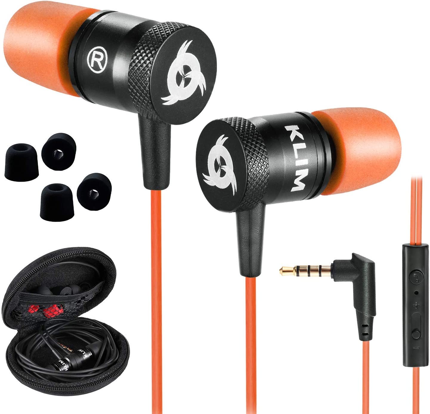 KLIM Fusion Earbuds with Microphone + Long-Lasting Wired Ear Buds - Innovative: in-Ear with Memory Foam + Earphones with Mic and 3.5 mm Jack - Gaming Earbuds - New 2021 Version (Orange)