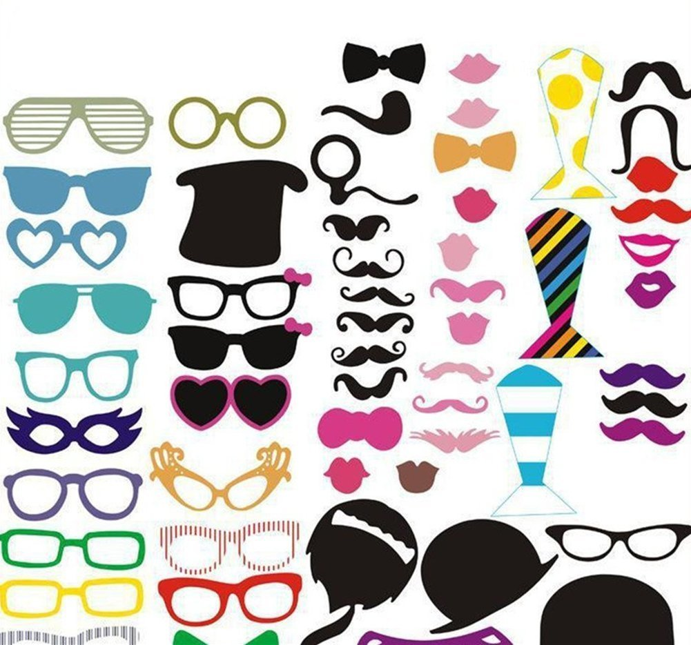 Keklle Photo Booth Props 58 PCS DIY Kit for Wedding Party Fun Accessories Glass Cap Moustache Lips Bow Ties Sun Goodtimes Birthday