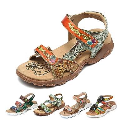 657121937e4b24 Gracosy Sandales de Sports Femmes, Chaussures de Randonnée Marche Été en  Cuir à Scratch à