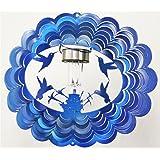 Solar Hummingbird Blue Starlight Wind Spinner, Metal Yard Art and Outdoor Décor, 12 Inch