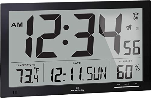 MARATHON CL030062BK Slim-Jumbo Atomic Digital Wall Clock