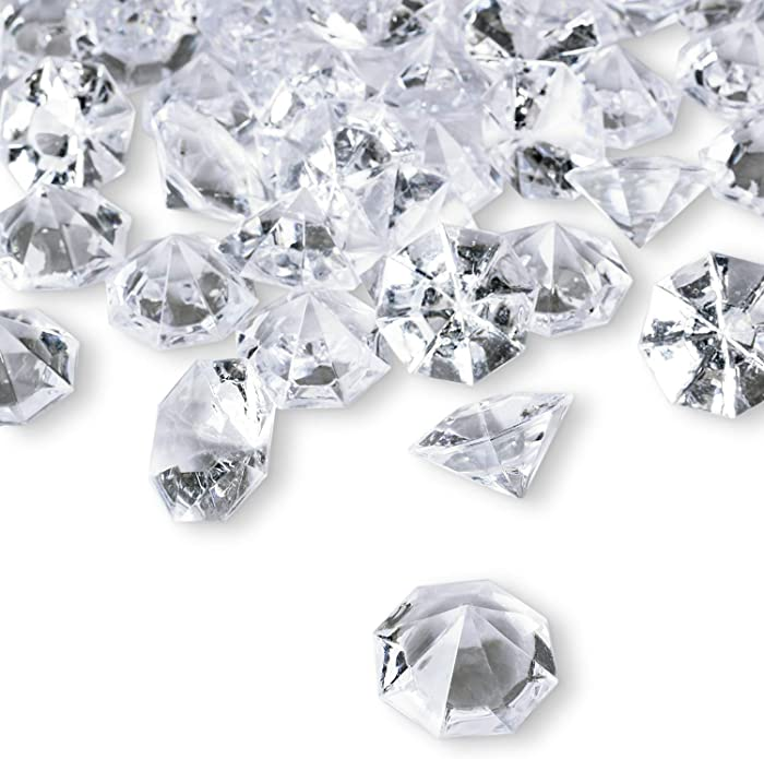 2 Pounds of 25 Carat Clear Acrylic Diamonds - Big Diamonds for Table Centerpiece Decorations, Wedding Decorations, Bridal Shower Decorations