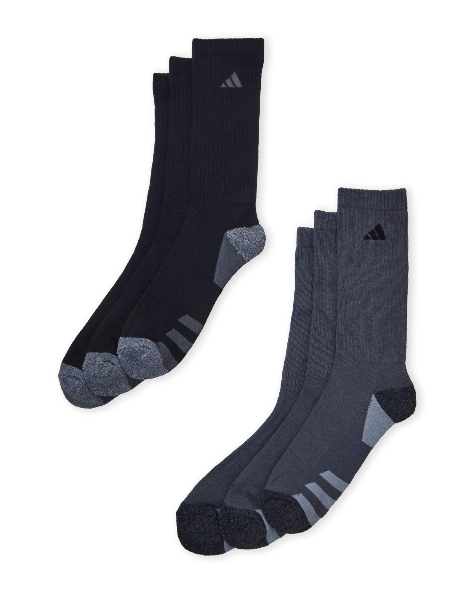 adidas Men's Athletic Crew Socks (6-Pack) (White/Gray/Royal/Red) Shoe Size 6-12