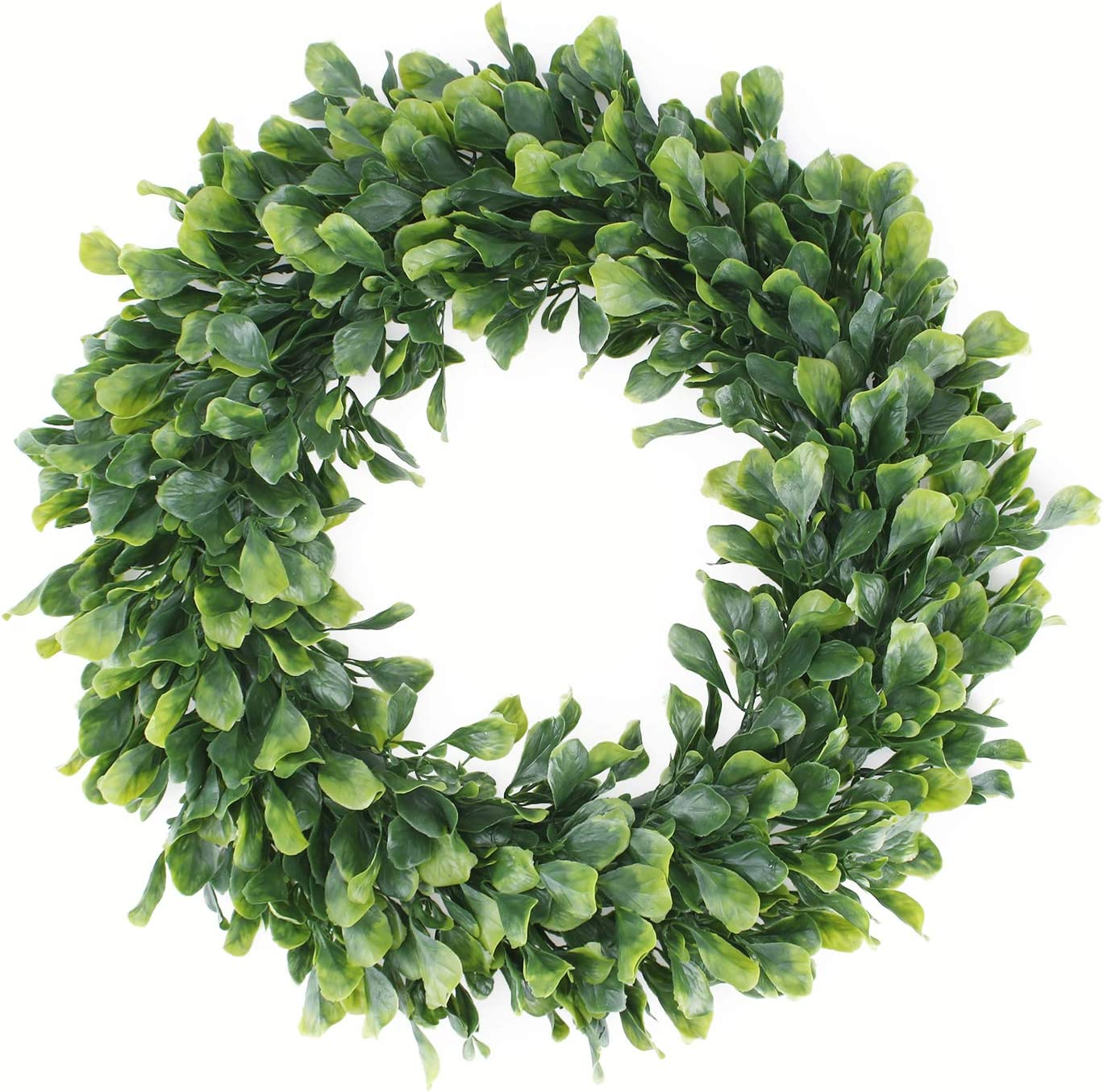 "Geboor Faux Boxwood Wreath, 15"" Artificial Green Leaves Wreath for Front Door Hanging Wall Windows Decoration Holiday Festival Wedding Decor"