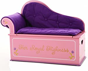 Wildkin Kids Princess Chaise Lounge with Storage, Features Toy Box Bench Seat Safety Hinge, Two Carrying Handles, and Removable Back, Arm, and Seat Cushions, Measures 32 x 15.5 x 27 Inches (Pink)