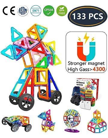Jasonwell Bloques de Construcción Magnéticos 133 Piezas Bloques Magnéticos 3D Juguetes Construcción Juguetes magnéticos Juego Creativo