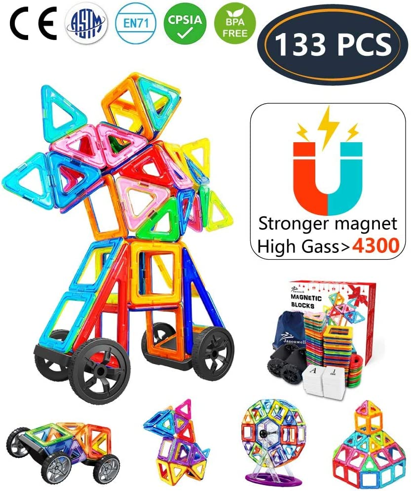Jasonwell Bloques de Construcción Magnéticos para Niños 133 Piezas Bloques Magnéticos 3D Juguetes Construcción Magnéticos Imanes Regalos y Juego Magnético Creativo y Educativo de 3 4 5 6 7 8 Años