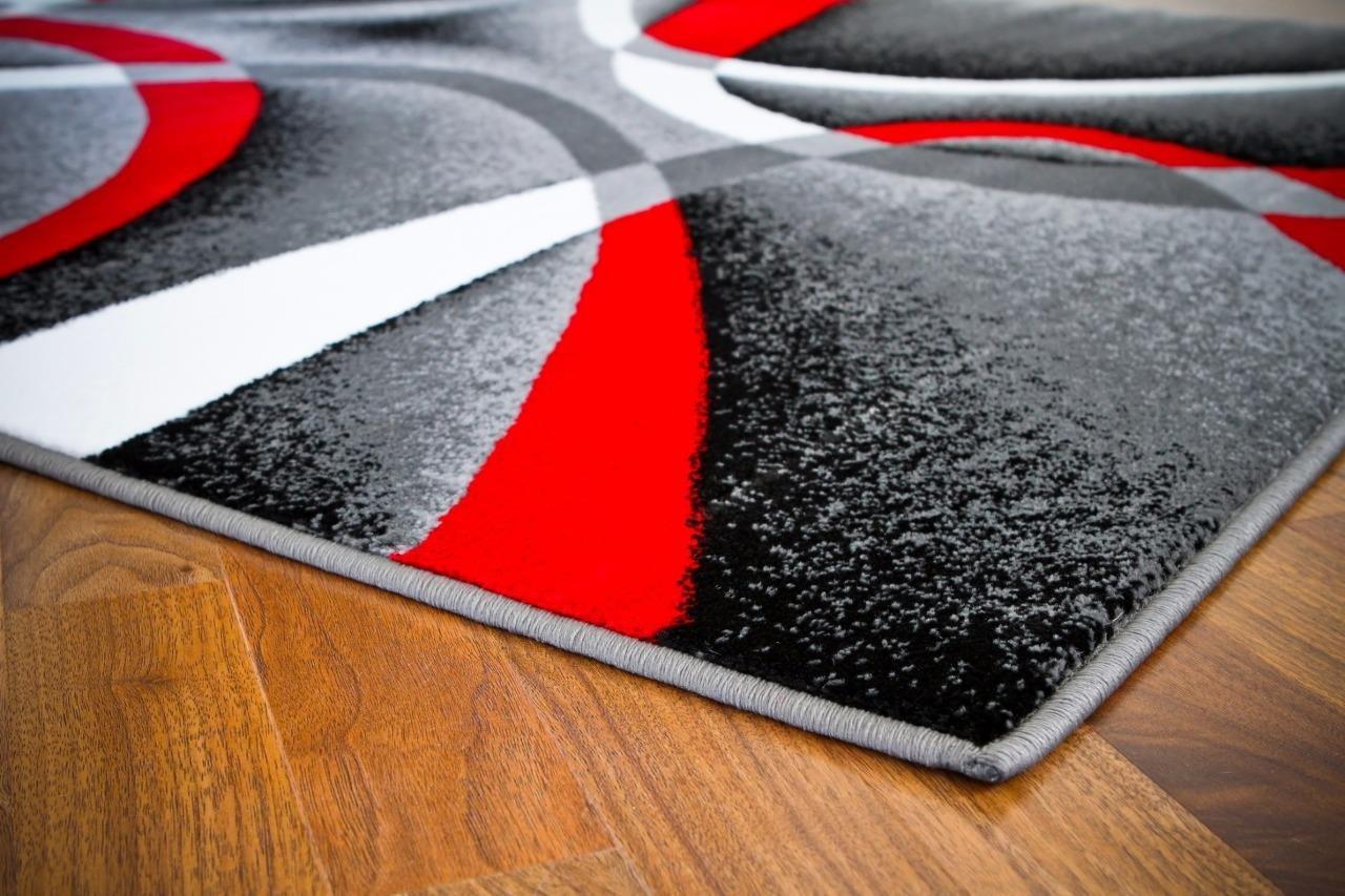 Amazon.com: 2305 Gray Black Red White Swirls 9u00270 X 12u00276 Modern Abstract Area  Rug Carpet: Kitchen U0026 Dining