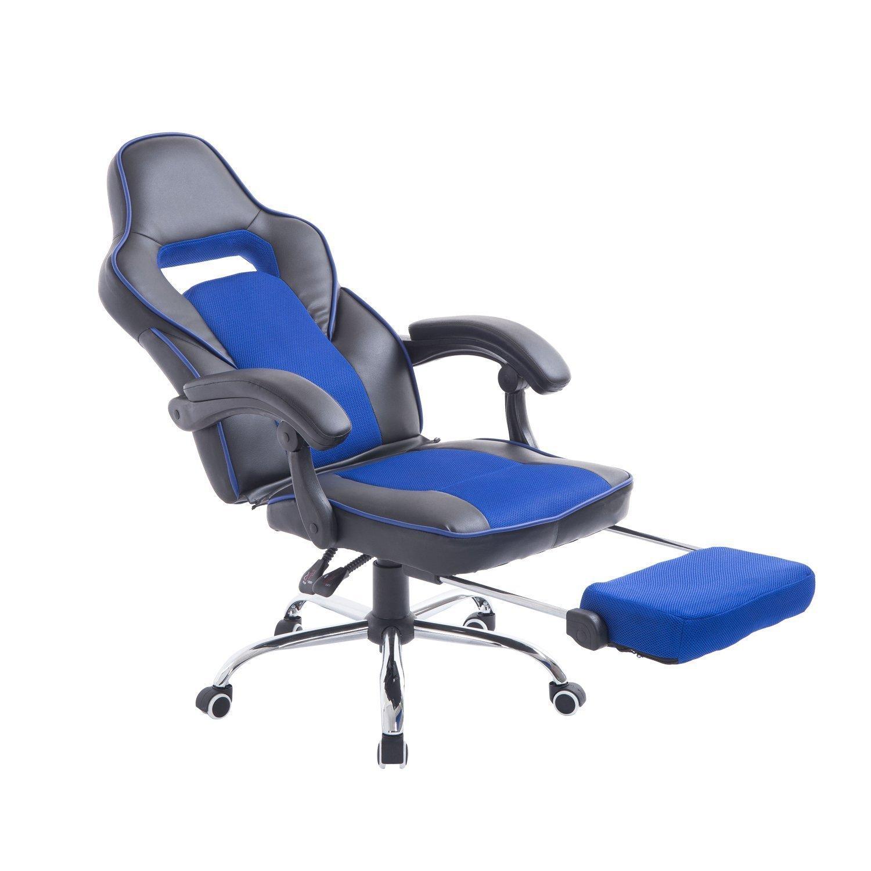 HOMCOM Sedia da Ufficio Scrivania Poltrona da Gaming Ergonomica Reclinabile con Poggiapiedi e Rotelle in Ecopelle PU Nero e Blu