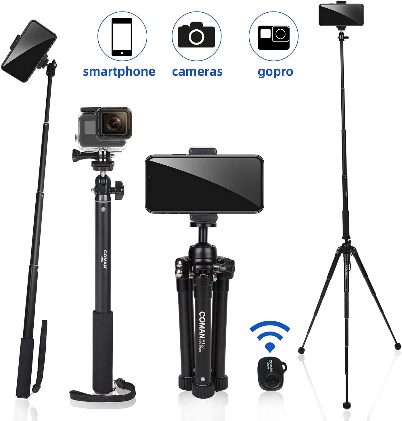 "63"" Tripod, COMAN Premium Phone Tripod, Portable All-in-One Professional Camera Tripod, Lightweight Aluminum, Bluetooth Remote for iPhone & Android Devices, Non Skid Tripod Feet: Camera & Photo"
