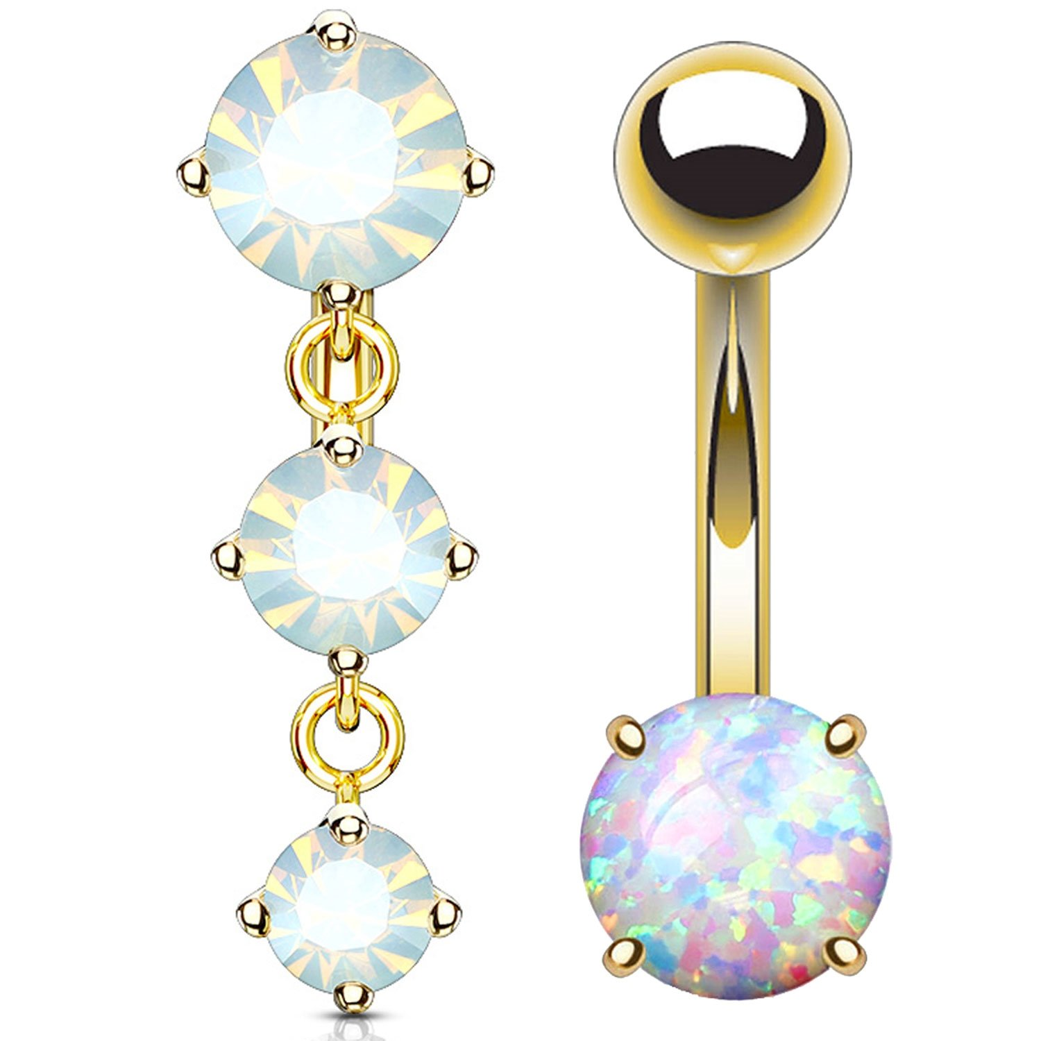 Amazon Com Bodyj4you 2pc Reverse Belly Button Ring Jeweled 14g Top